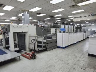 2006 Komori LS1040P-C UV double coater for sale Trinity Printing Machinery USA